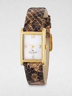 Kate Spade New York - Goldtone & Snake Embossed Leather Watch
