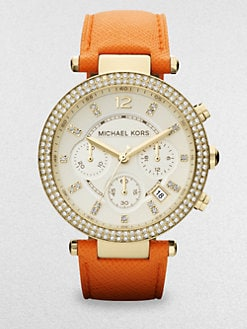 Michael Kors - Crystal & Goldtone Stainless Steel Chronograph Watch/Orange