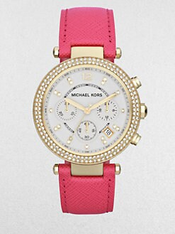 Michael Kors - Crystal & Goldtone Stainless Steel Chronograph Watch/Pink