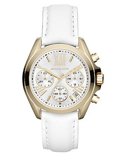 Michael Kors - Goldtone Stainless Steel & Leather Chronograph Watch