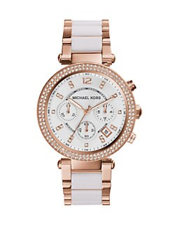 Michael Kors - Crystal, Rose Goldtone Stainless Steel & Acetate Watch