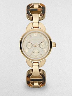 Michael Kors - Goldtone Stainless Steel & Tortoise-Print Link Chain Multi-Function Watch