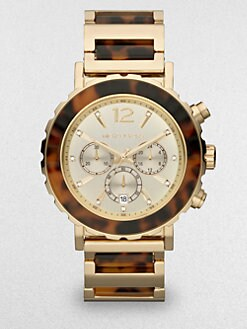 Michael Kors - Goldtone Stainless Steel & Tortoise-Print Chronograph Watch