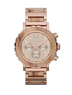 Michael Kors - Rose Goldtone Stainless Steel & Sand Patterned Chronograph Watch