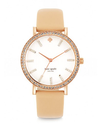 Kate Spade New York Metro Pave Crystal, Rose Goldtone Stainless Steel & Vachetta