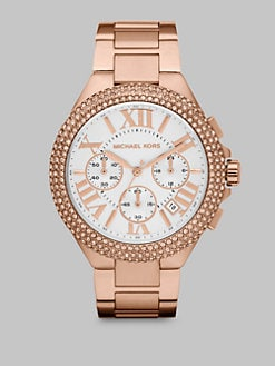 Michael Kors - Crystal Accented Stainless Steel Chronograph Watch/Rose Goldtone