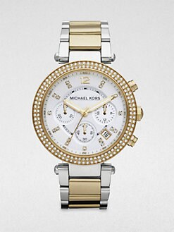 Michael Kors - Crystal Two-Tone Stainless Steel Chronograph Watch