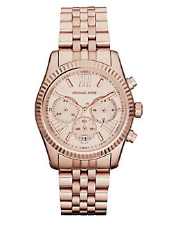 Michael Kors - Lexington Round Rose Goldtone Stainless Steel Chronograph Bracelet Watch