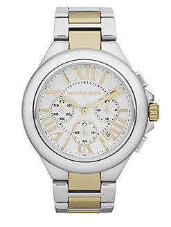 Michael Kors - Camille Round Two-Tone Stainless Steel Chronograph Bracelet Watch