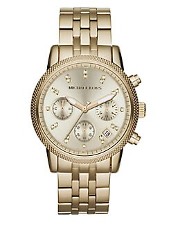 Michael Kors - Ritz Round Goldtone Stainless Steel Chronograph Bracelet Watch