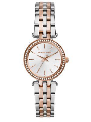 Darci Petite Pavé Two-Tone Stainless Steel Bracelet Watch
