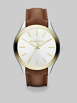 Michael Kors - Peyton Round Two-Tone Leather Strap Watch