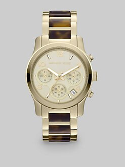 Michael Kors - Tortoise-Print & Goldtone Chronograph Watch