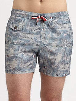 Moncler - Printed Swim Trunks