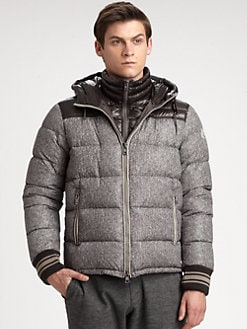 Moncler - Eusebe Printed Herringbone Hooded Down Jacket