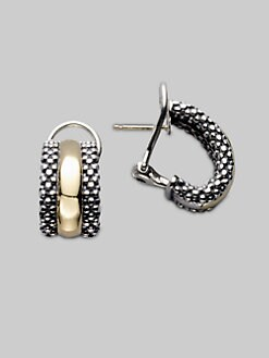 Lagos - Sterling Silver & 18K Yellow Gold J-Hoop Earrings/&#190&#34