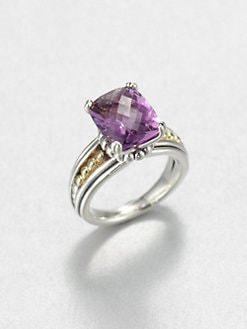 Lagos - Amethyst, Sterling Silver and 18K Yellow Gold Ring