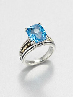 Lagos - Blue Topaz, Sterling Silver and 18K Yellow Gold Ring