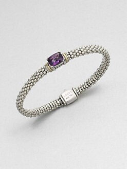Lagos - Amethyst, Sterling Silver and 18K Yellow Gold Bracelet
