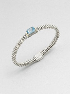 Lagos - Blue Topaz, Sterling Silver and 18K Yellow Gold Bracelet