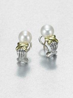 Lagos - Freshwater Pearl, Sterling Silver and 18K Yellow Gold Earrings