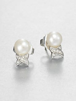 Lagos - Freshwater Pearl, Diamond and Sterling Silver Earrings