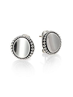 Lagos - Sterling Silver Caviar-Beaded Button Earrings