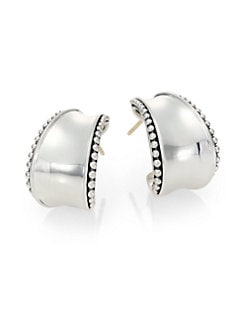 Lagos - Sterling Silver Caviar-Beaded J Hoop Earrings