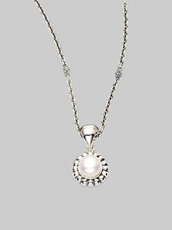 Lagos - Pearl & Sterling Silver Fluted Pendant Necklace
