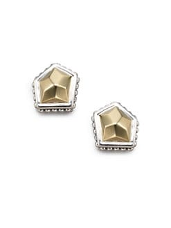 Lagos - 18K Gold & Sterling Silver Rock Stud Earrings