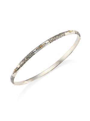 Sterling Silver & 18K Yellow Gold Bangle