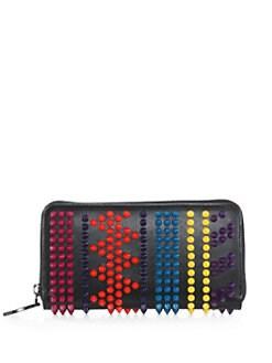 Christian Louboutin - Panettone Chevron Studded Leather Zip-Around Wallet