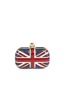 Alexander McQueen - Leather Union Jack Skull Clutch