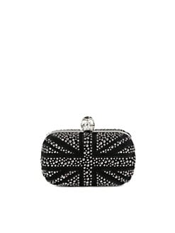Alexander McQueen - Britania Studded Suede Skull Clutch