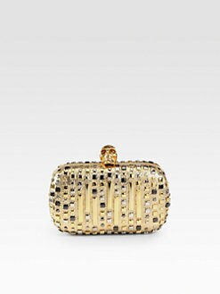 Alexander McQueen - Studded Metallic Leather Skull Clutch