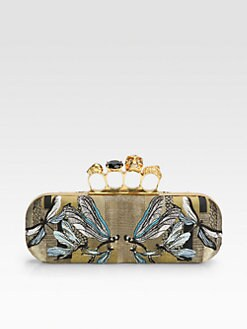 Alexander McQueen - Dragonfly Embroidered Jacquard Knuckle Clutch
