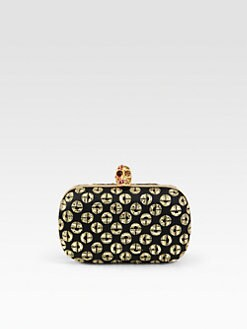 Alexander McQueen - Embellished Satin Two-Face Skull Clutch