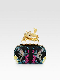 Alexander McQueen - Hummingbird Embroidered Satin Knuckle Clutch