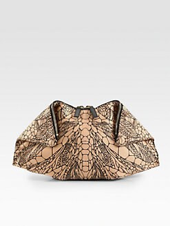 Alexander McQueen - De-Manta Spine-Printed Leather Clutch