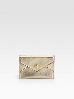 Alexander McQueen - Metallic Leather Skull Card Case