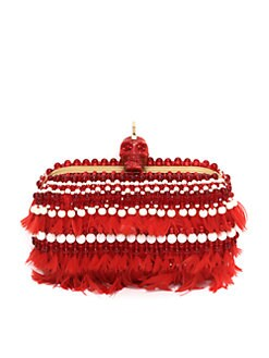 Alexander McQueen - Punk Skull Beaded Feather Clutch