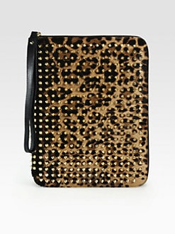 Christian Louboutin - Studded Leopard-Print Haircalf Cover for iPad 1, 2 and 3