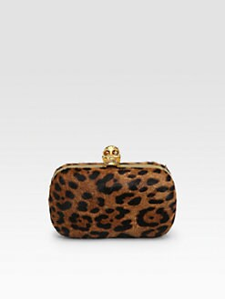 Alexander McQueen - Classic Skull  Leopard-Print Haircalf Clutch
