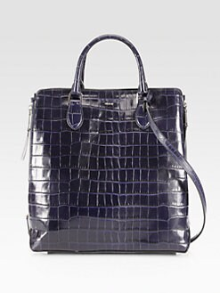 Rochas - Crocodile Embossed Leather Top Handle Bag