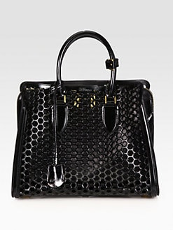 Alexander McQueen - Heroine Medium Patent Leather Honeycomb Top Handle Bag
