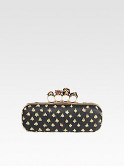Alexander McQueen - Bee Embroidered Satin Knuckle Box Clutch