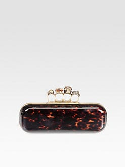 Alexander McQueen - Tortoise-Print Patent Leather Knuckle Box Clutch