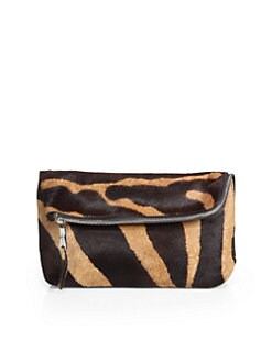 Rochas - Zebra-Print Haircalf Foldover Clutch