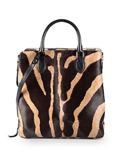 Rochas - Zebra-Print Haircalf Top Handle Bag