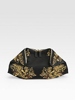 Alexander McQueen - Demanta Embroidered Satin Clutch